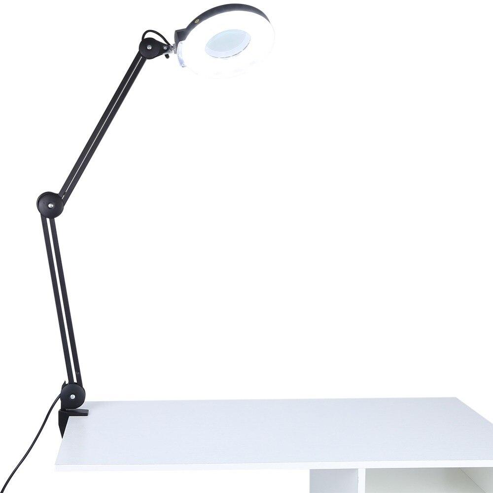 5x מגדלת לילה אור יופי קוסמטי קעקוע מניקור שולחן זכוכית מגדלת תאורת מנורת עם מהדק 6000-6500K