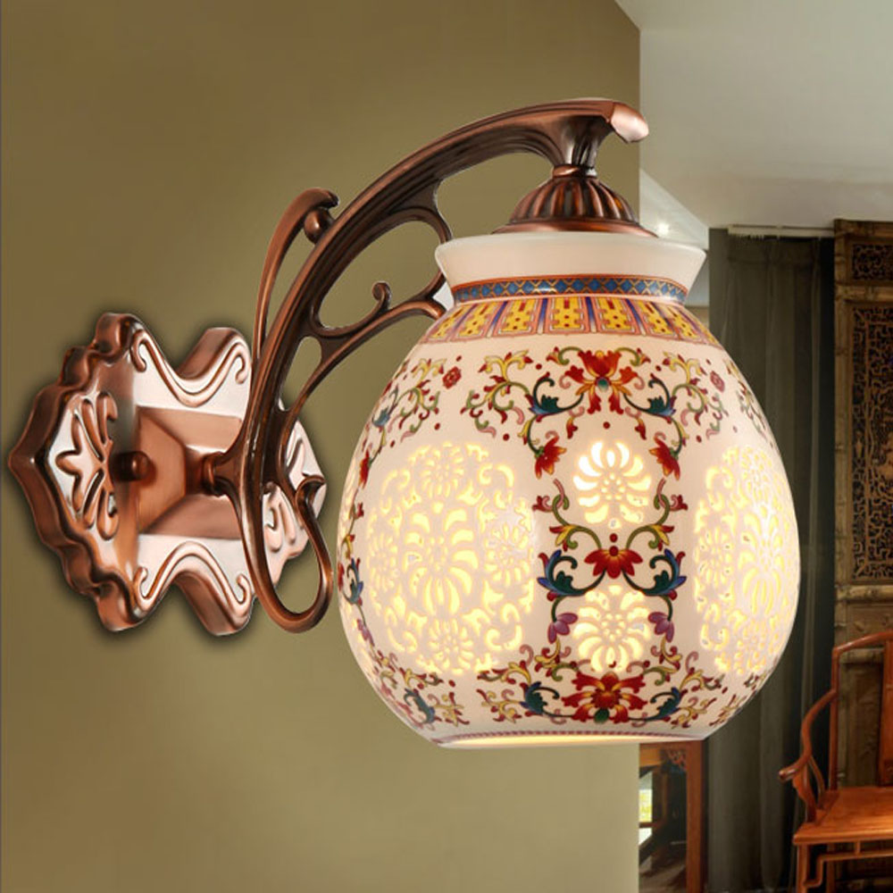 цена на New In 2018 Retro Ceramics Led Wall Light 110V ~ 220v Indoor Lighting Wall Mounted Bedside Reading Lamps 10W Vintage Luminaria