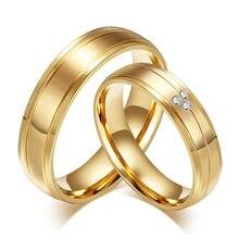 Alyans 316L paslanmaz çelik yüzük nişan CZ taşlar takı altın renk çift yüzük kadın erkek