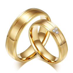 Wedding Ring 316L Stainless Steel Ring Engagement CZ Stones Jewelry Gold-color Couple Ring for Women Men