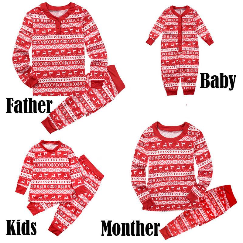 Pudcoco Family Matching christmas pajamas Adult Kids Mother Father Christmas Sleepwear Nightwear Pijamas цена