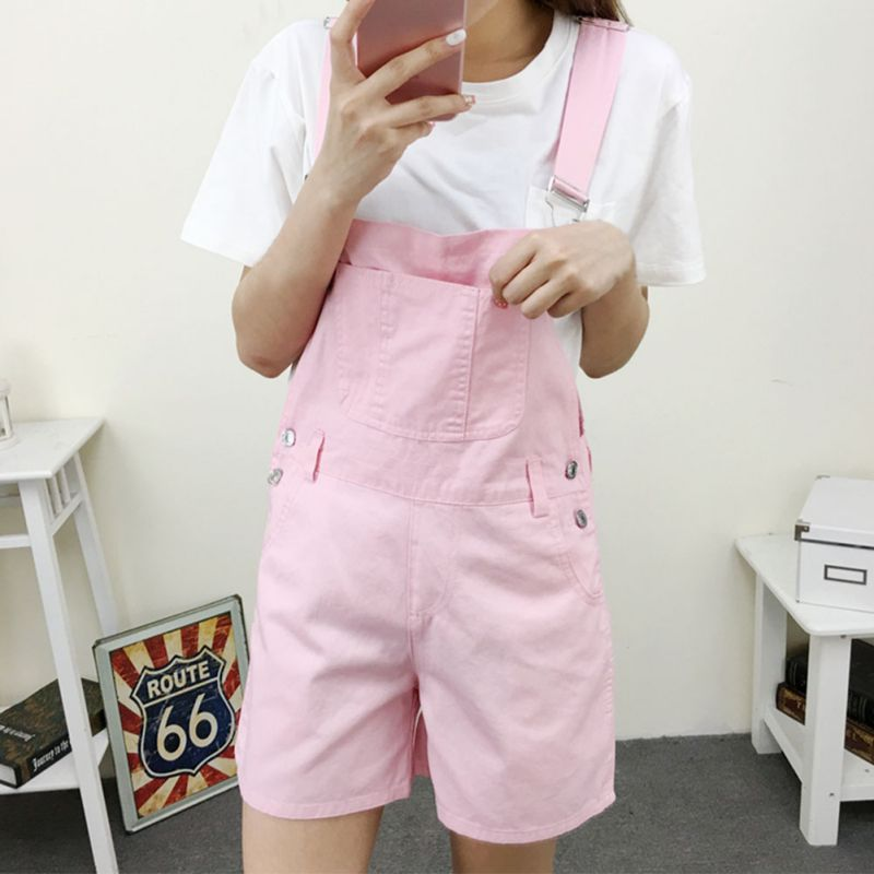 Women Summer Overalls Shorts Summer Rompers Female Playsuits Girls Casual Short Jumpsuits