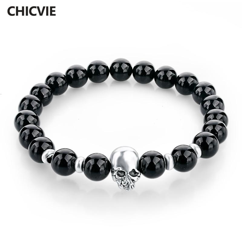 Love Eternal Jewelry Co.,LTD CHICVIE Natural Stone Beads Silver color Skull Bracelets For Men Women Male Tiger Eye Casual Jewelry 2017 Black 8mm Sbr150172