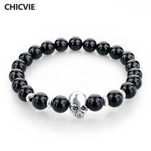 Chicvie браслеты из натурального камня серебряного цвета с черепом