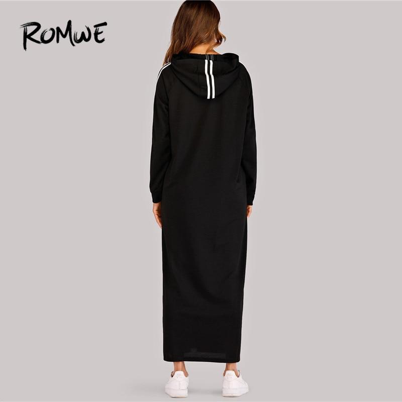 Image 2 - ROMWE Black Hooded Long Sleeve Straight Maxi Sweatshirt Dress  Women Spring Autumn Side Striped Tape Zipper Up H Hoodie  DressesDresses