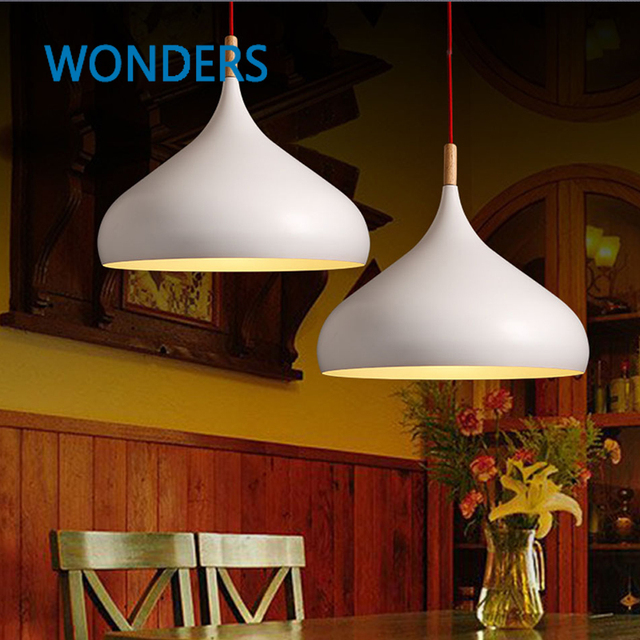 Anese Pendant Lights Solid Brief White Nordic Light Iron Decorative Cafe Bar Living Room