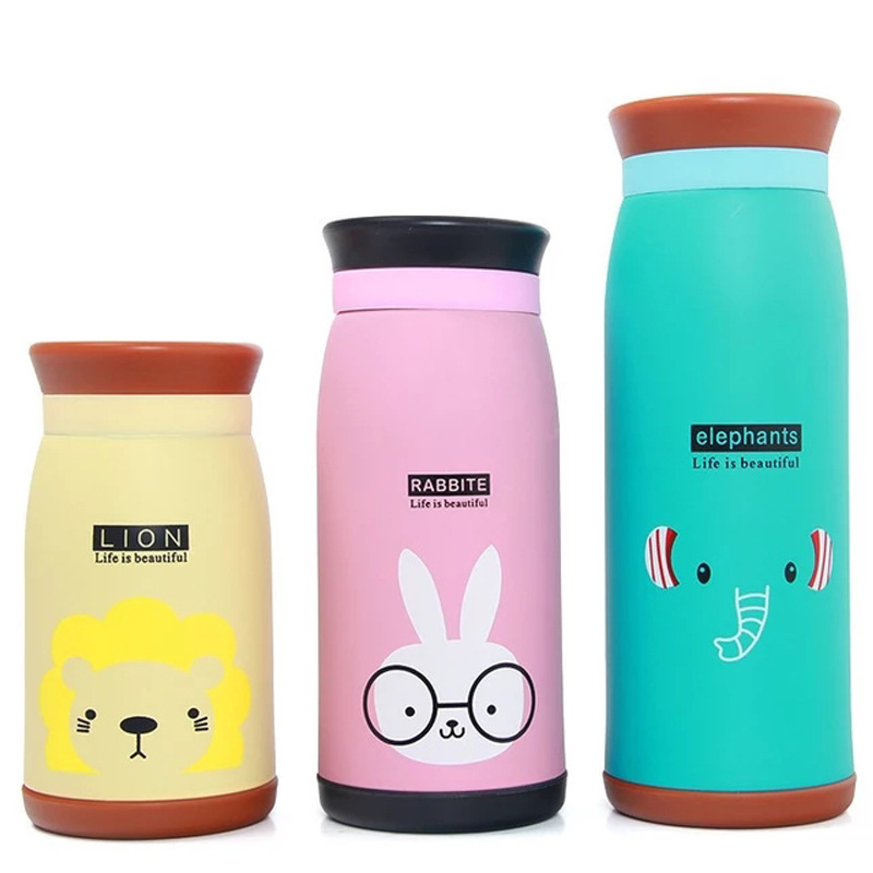 Fashion Cartoon Animals Thermos Bottle Children Student Cute Thermo Mug Stainless Steel Belly Cup Thermos Thermocup
