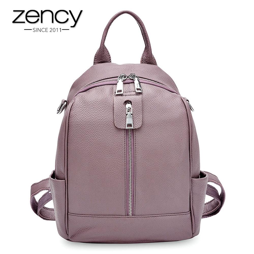 Zency กระเป๋าเป้สะพายหลังผู้หญิงแฟชั่น 100% Cowhide หนังแท้สีดำกระเป๋าเดินทางผู้หญิงกระเป๋านักเรียนโน้ตบุ๊คคุณภาพสูงกระเป๋าเป้สะพายหลัง-ใน กระเป๋าเป้ จาก สัมภาระและกระเป๋า บน   1