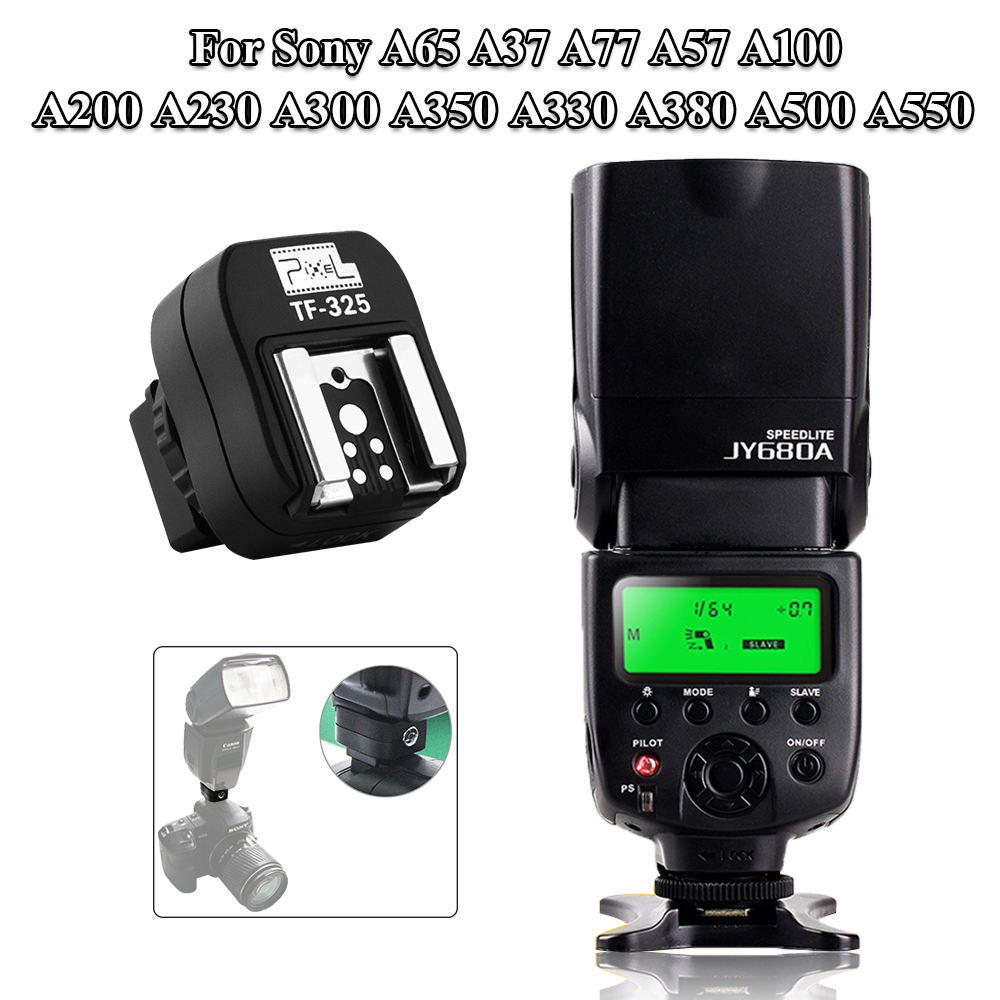 For Sony A65 A37 A77 A57 A100 A200 A230 A300 A350 A330 A380 A500 A550 VILTROX JY-680A Speedlite & PIXEL Flash Hot Shoe Adapter