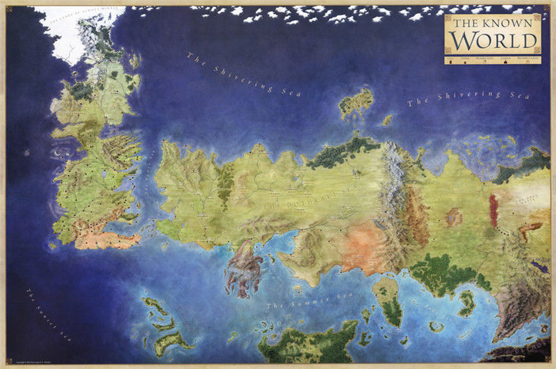 weltkarte game of thrones Game of Thrones The Known World Map Silk Poster Art Bedroom  weltkarte game of thrones