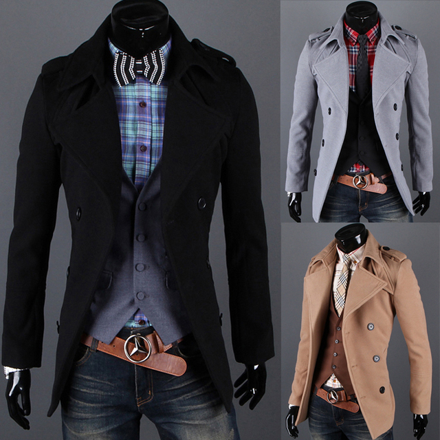 2014 oferta especial nova chegada Regular Double Breasted casaco masculino de lã de moda Epaulette casaco médio - longo primavera Outerwear