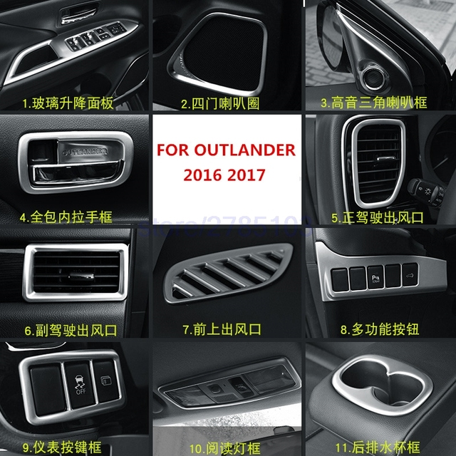 for mitsubishi outlander 2016 2017 abs chrome cup holder cover air