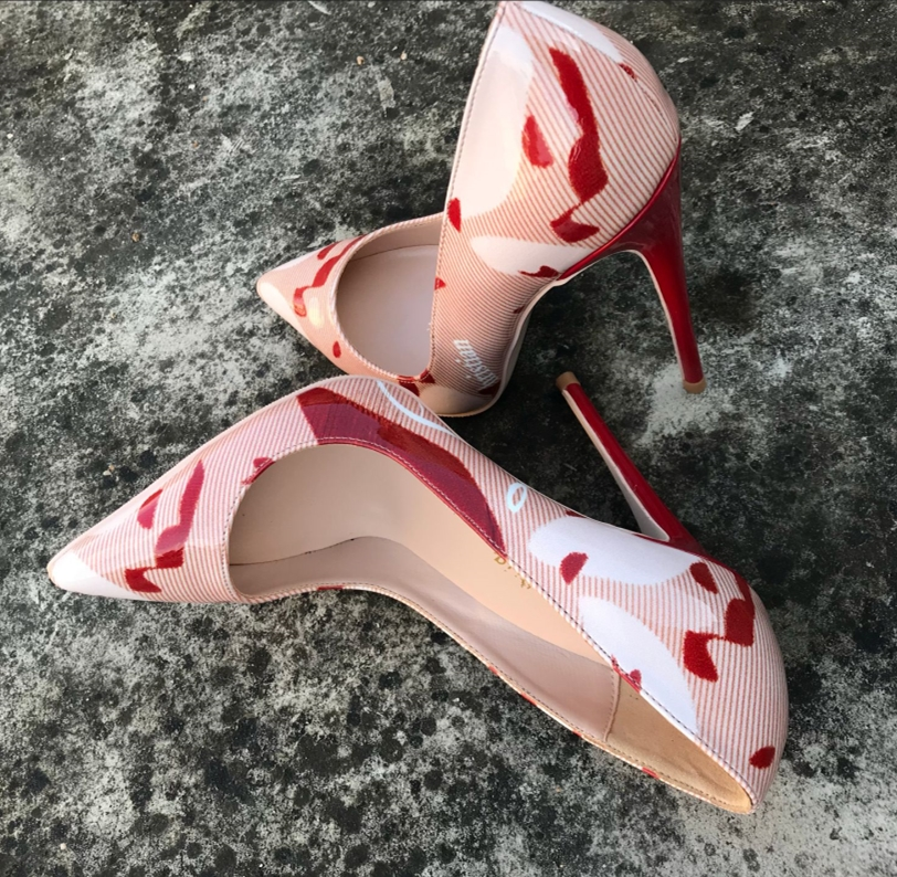 Sexy Lady Pumps Patent Leather Red High Heels Pointed Toe Sandals Luxury  Graffiti Brand Designer Shinny Womens Shoes Plus Size43-in Women s Pumps  from Shoes ... 5f26b6aa6e92
