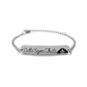 Delta Sigma Theta Sorority Stainless Steel Bracelet Greek Letter Link Chain Bracelets For Women Men Jewelry Accessories(China)