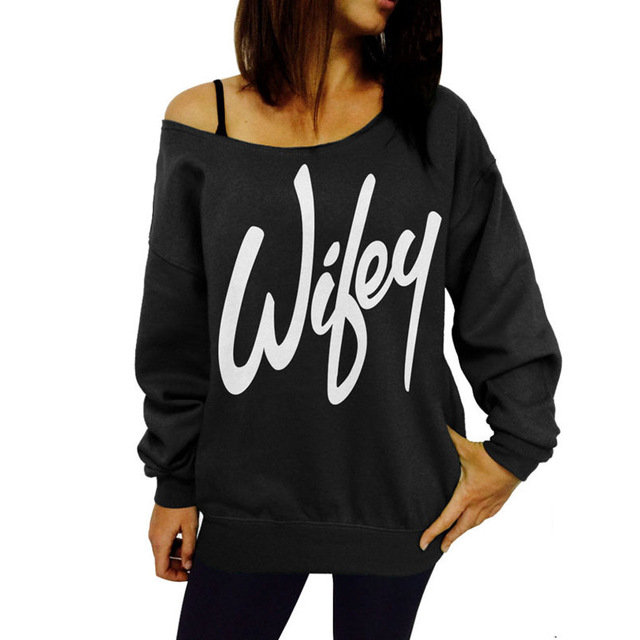 2016 Nuevo Otoño Y el Invierno de 100% Algodón Mujeres Camiseta de La Manera Ocasional Flojo Slash Cuello Impresión de la Letra Para Womne Tops
