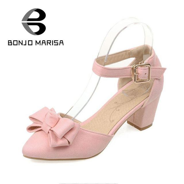 Hot Selling Sweet Bowtie Buckle Strap Pointed Toe Square Heels Shoes Women Fashion Less Platform Solid Med Heels Party Pumps