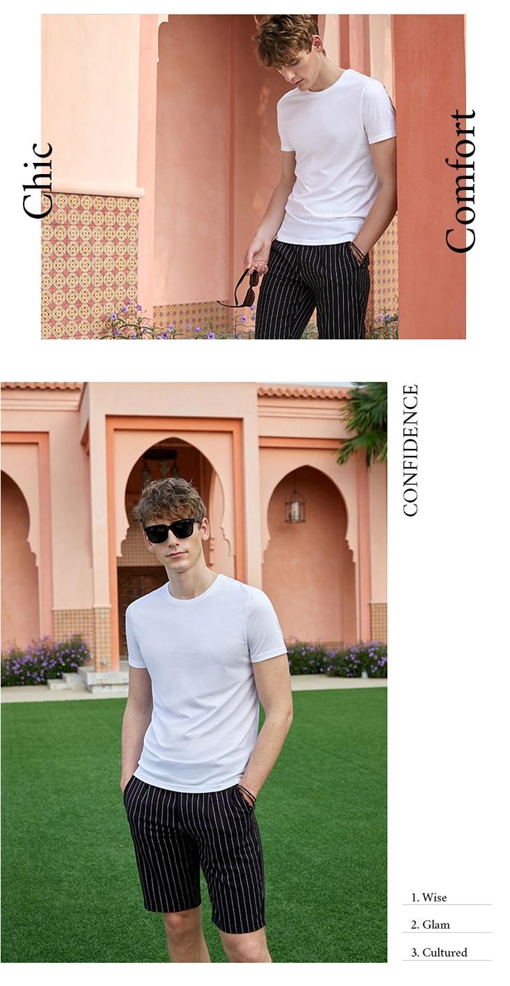 Men's Summer 100% Cotton Pure Color Round Neckline Short-sleeved T-shirt 24