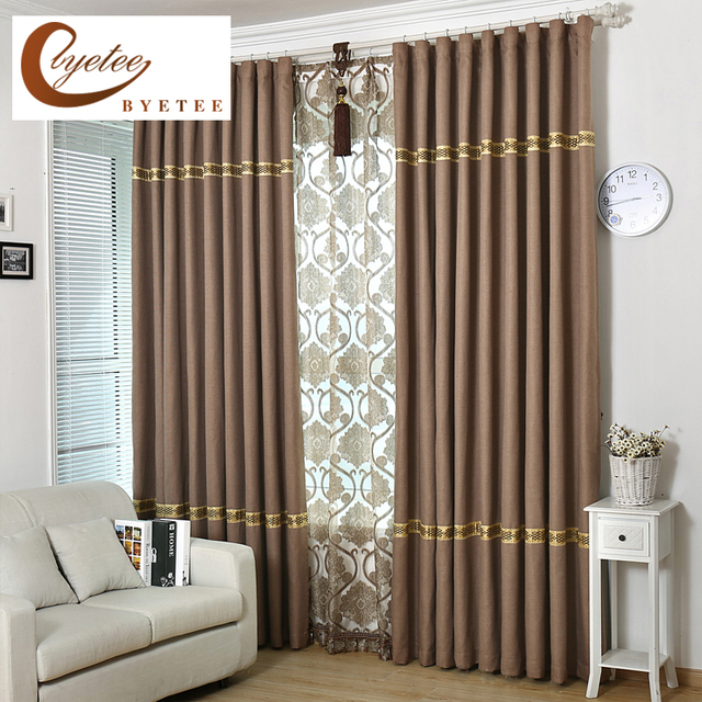 byetee cotton linen blackout kitchen curtains doors for solid