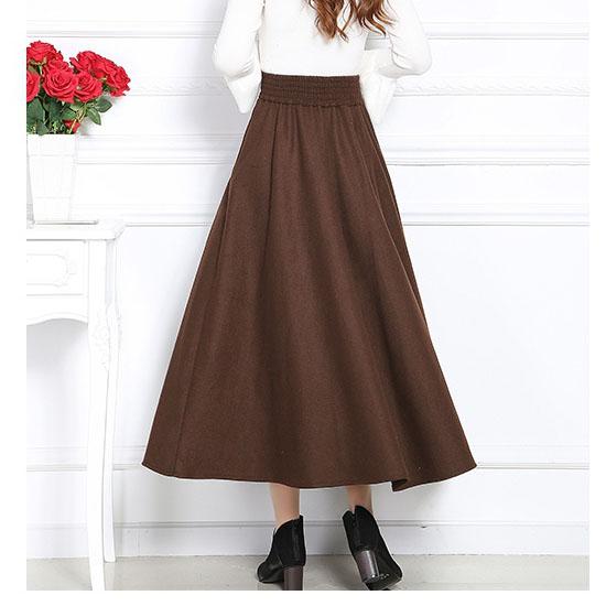 negro Color De Línea Faldas Falda Lana Sólido Cintura Larga Otoño Vintage 2xl Mujer Mujeres Una Elegante Coffee Big Swing Invierno Elástico tWRwWqzaA