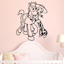 Cartoon character and horse wall sticker vinyl mural child room decoration wall sticker decal poster Wall Sticker #A22(China)