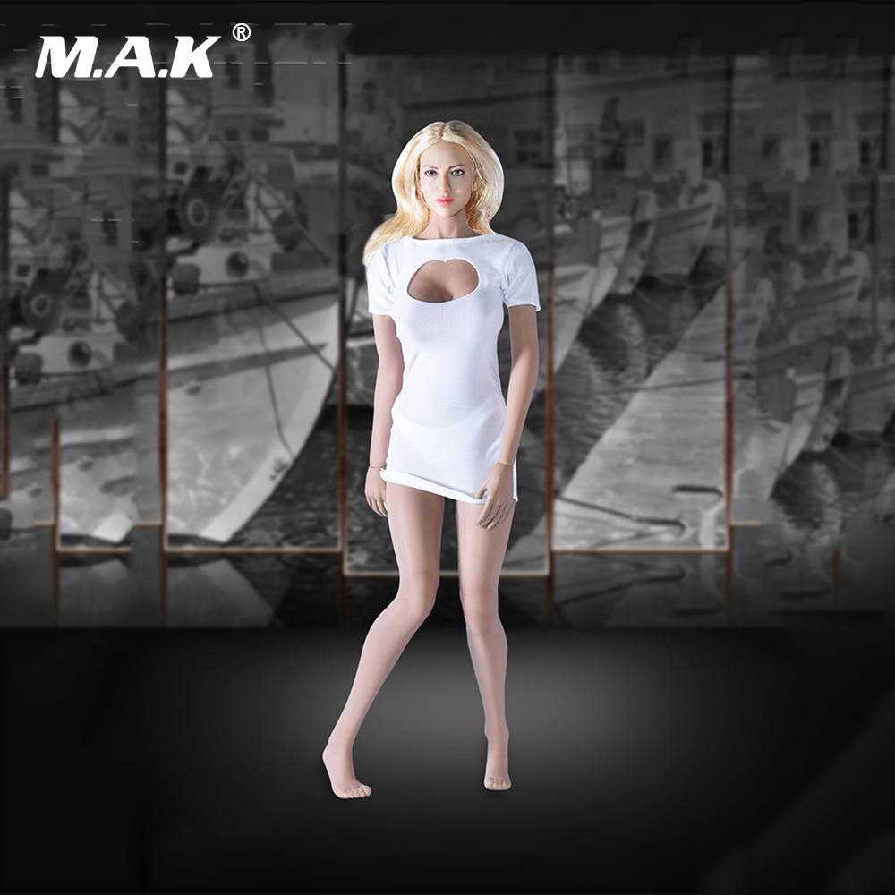 1/6 <font><b>Sexy</b></font> White <font><b>Dress</b></font> tym006 Clothes Models for <font><b>12</b></font> Inches Seamless Action Figures image
