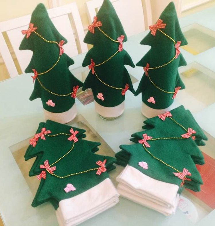 5pcs/set Christmas Table Decoration Red Wine Bottle Cover Bags Home Decors Navidad Santa Claus Christmas Decorations For Home
