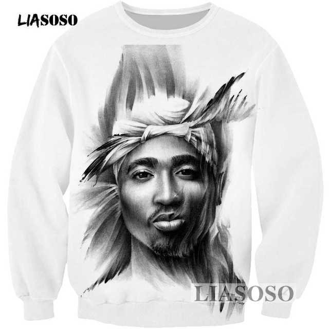 51e9686736a4 LIASOSO 2017 Hoodies Men Women Sweatshirt 3D Print 2pac Tupac Cartoon  Sweatshirt Cool Long Sleeve Crew Neck Brand Clothing R3387