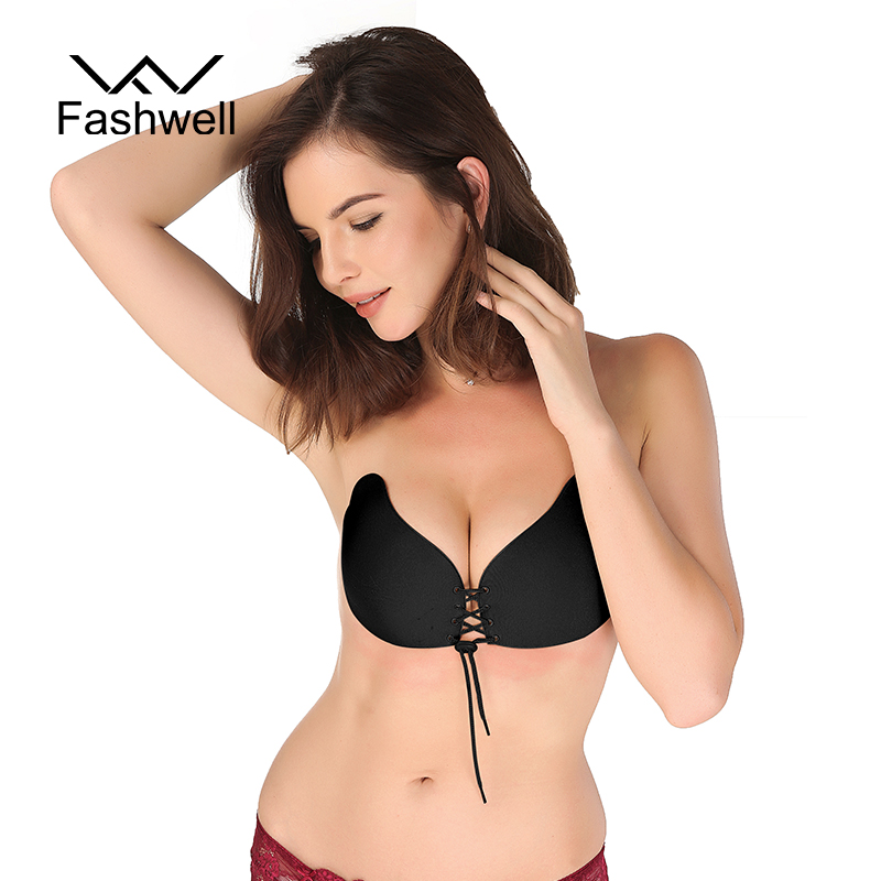 Women Stick Gel Silicone Push Up Solid Bra Self Adhesive Strapless Bandage Blackless women's underwear Invisible Bra