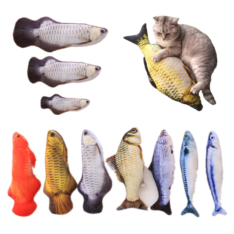 Plush Catnip Fish Toy for Cat Pet Chew Mint Fish Toys Pillow Cat Scratch Board Scratching Post 3 Size