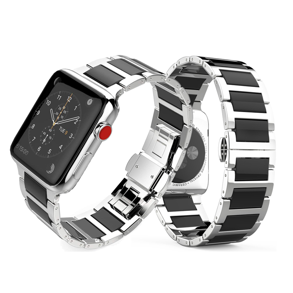 Stainless Steel Strap For Apple watch band 42mm 38mm iWatch Series 3/2/1 Link Bracelet Wristbands Metal buckle Ceramic Watchband ceramic watchband tool for 38mm 42mm iwatch apple watch series 1 2 replacement band steel butterfly buckle strap wrist bracelet