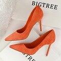 Tamanho 4 ~ 8 Elegante Escritório Commuter Mulheres Sapatos de Outono Sapatos De Salto Alto Roxos 9 Cor Sexy Bombas zapatos mujer (Chenk Comprimento Do Pé)