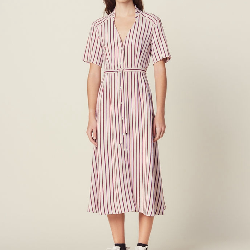 Office Ladies Striped Dress Runway Midi Dresses 2019