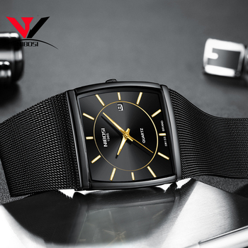 1e828abfe970 Cuadrado para hombres NIBOSI Montre Homme 2018 vestido relojes para hombre  marca de lujo analógico de cuarzo impermeable hombre reloj Rolex de