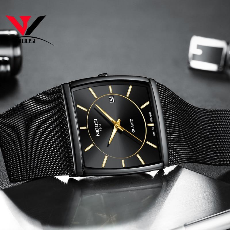 Square Watch For Men NIBOSI Montre Homme 2018 Dress Mens Watches Top Brand Luxury Analog Quartz-watch Waterproof Man Clock Uhren
