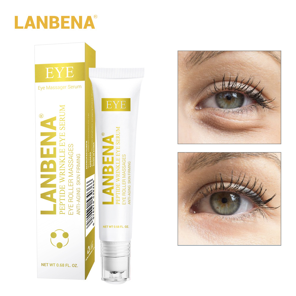 LANBENA Peptide Wrinkle Eye Serum Anti Puffiness Fine Lines Dark Circle Anti Aging Moisturizing Eye Patches Eye Care Beauty