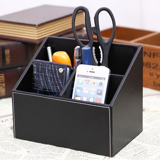 Leather Needle Desktop Brief Box Storage Mobile Phone Holder