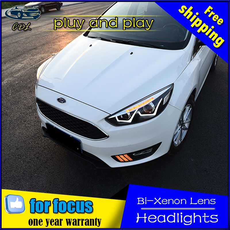 Car Styling Head Lamp for Ford Focus Headlights 2015 New Focus LED Headlight DRL Daytime Running Light Bi-Xenon HID Accessories car styling headlights for toyota rav4 led headlight 2013 2015 for rav4 head lamp led daytime running light q5 lens bi xenon hid