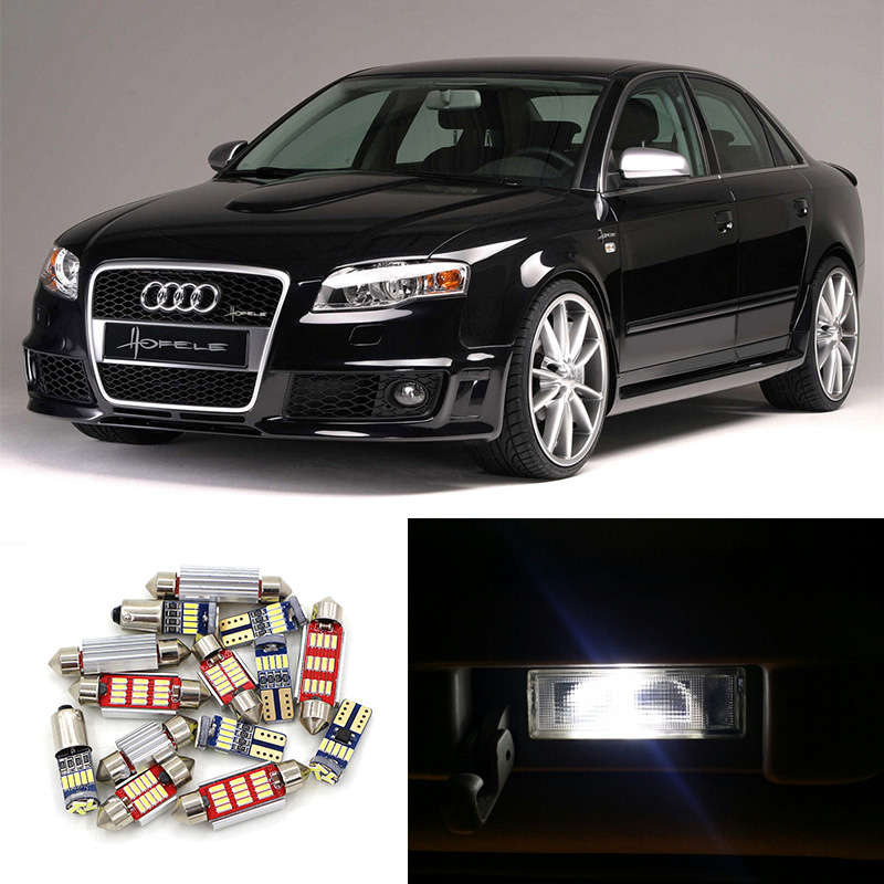 21pcs Super Bright Canbus Car LED Light Bulbs Interior Package Kit For 2006-2008 Audi A4 S4 B7 Avant Map Dome Footwell Lamp 2pcs 12v 31mm 36mm 39mm 41mm canbus led auto festoon light error free interior doom lamp car styling for volvo bmw audi benz