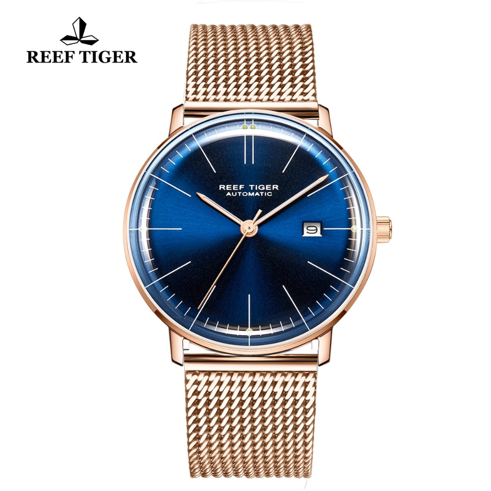 Reef Tiger/RT Luxruy Dress UltraThin Watch Automatic Mechanical Watches Men Rose Gold Strap with Deployment Buckle Watch RGA8215Reef Tiger/RT Luxruy Dress UltraThin Watch Automatic Mechanical Watches Men Rose Gold Strap with Deployment Buckle Watch RGA8215