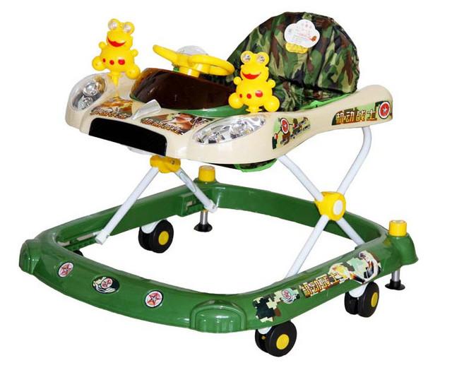 2016 del niño del bebé primeros caminante de coches con música camuflaje bebé plegable andador coche de bebé del coche con ruedas bebé silla de cena