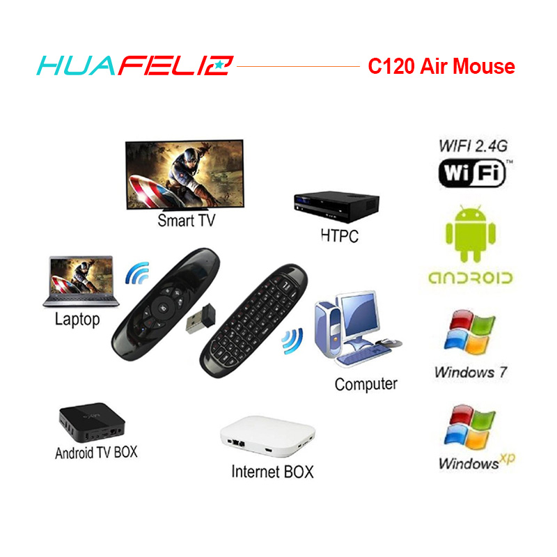 Russian/English/Spanish C120 Air Mouse 2.4GHz Wireless mini Keyboard Gyroscope Remote Control for Android TV Box