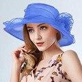 2017 Moda Elegante Iglesia Sombreros Para Las Mujeres Sombrero de La Flor de Las Mujeres Gorras Sombrero de Sol de verano Boda Derby de Kentucky de Ala Ancha Del Mar playa