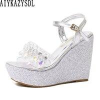 536ae6a989 Sandalias de mujer AIYKAZYSDL 2019 tacones planos diamantes imitación  cristal correa trasera transparente cuadrados zapatos gelatina boda