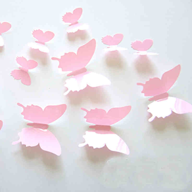 12Pcs/Set Pvc Butterfly Girl 3D Vintage Wall Decals For Kids Room Colorful Art Wall Sticker Home Decoration Accessories Y39