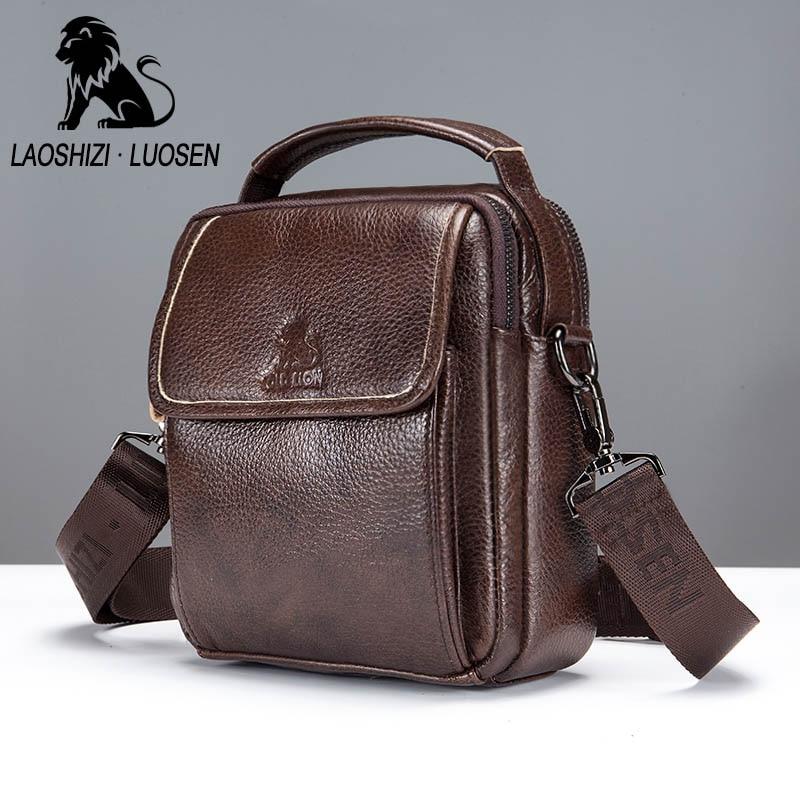LAOSHIZI LUOSEN man s Genuine Leather Messenger Bags Mens Crossbody Bags  male Small Flap Casual Messenger Bag bb1770b59fbdb