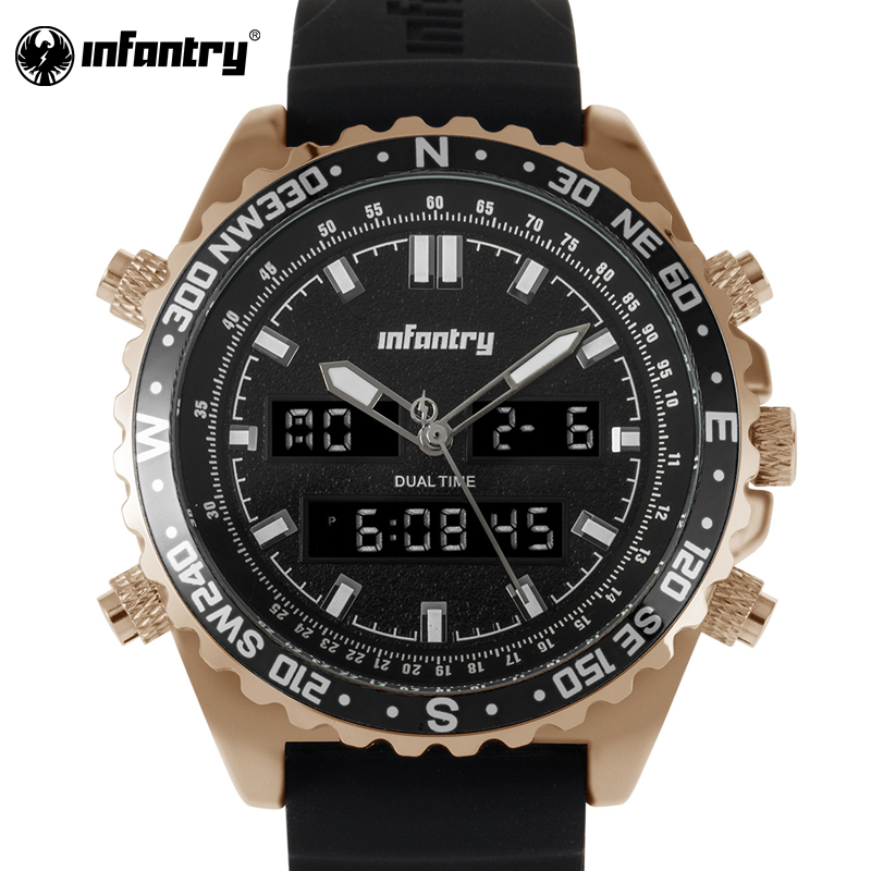 INFANTRY Sport Watch For Men Waterproof Casual Clock Dual Quartz Wristwatches Top Brand Luxury Military Relogio Masculino 2017 new top fashion time limited relogio masculino mans watches sale sport watch blacl waterproof case quartz man wristwatches
