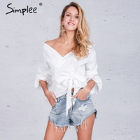 Simplee Ruched Sleeve Wrap White Blouse Shirt Women Casual Blouse Off Shoulder Plaid Shirt Top V