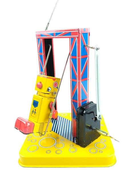 Fuera de impresión Retro MS366 oscilación clockwork robot Tin toy Colección de Maquinaria