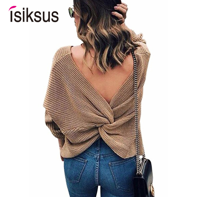 Isiksus V Neck Black Sweater Women Winter 2018 female coarse knitted sweaters and pullovers long sleeve Jumpers for Ladies SW016