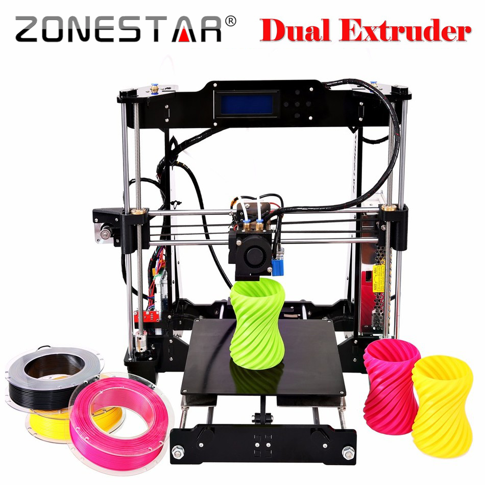 Dual Extruder Double Color Bed Auto Leveling Reprap 3D Printer DIY Kit Gift 2 Rolls Filament SD Card Free Shipping high precision reprap prusa i3 3d printer diy kit bowden extruder easy leveling acrylic lcd free shipping sd card filament tool